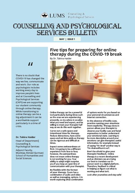 Counselling and Psychological Services Bulletin Issue 1