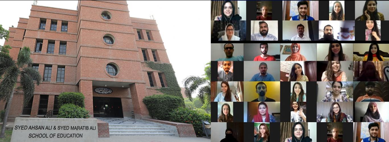 Picture of the School of Education building and a collage of participants' zoom screens