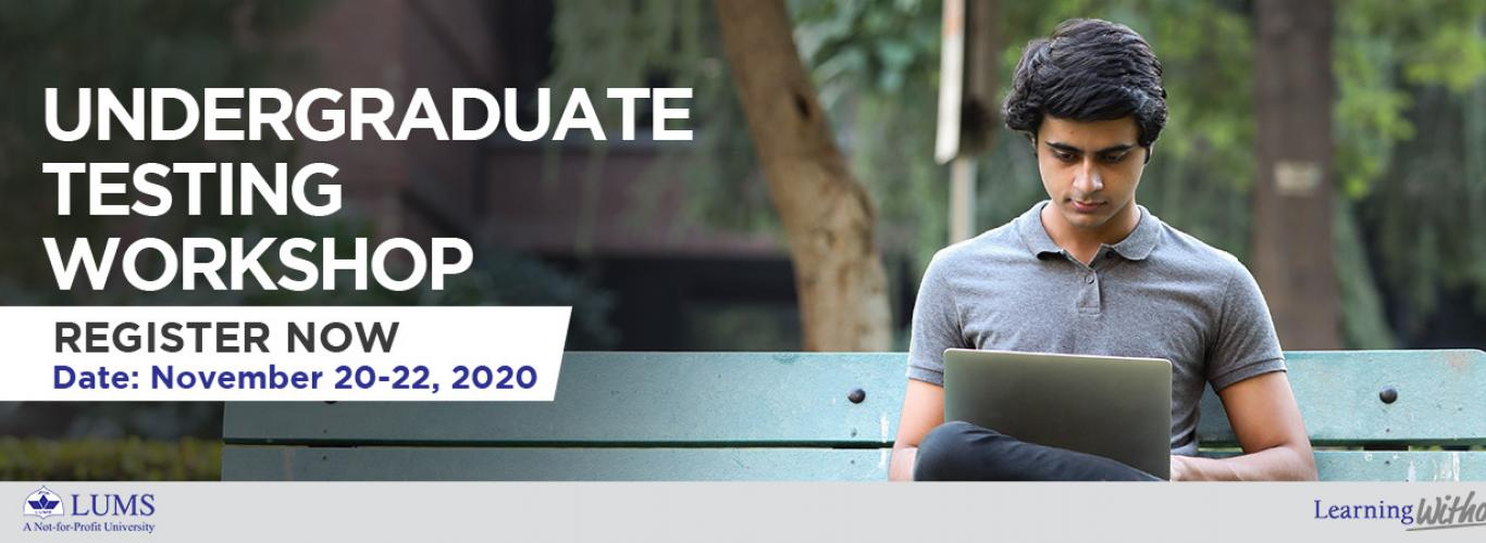 Workshop date and name in white text along with picture of male student sitting on a bench working on his laptop