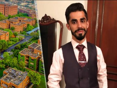 Pano of LUMS with picture of Kaleem bhai in suit